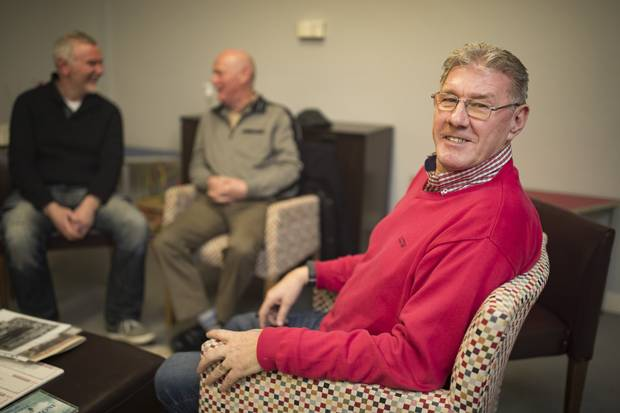 Man talk: Terry McMullen, Christy Fleming and Liam McDermott at the Men's Group at Hill Street, Dublin. Photo: Arthur Carron