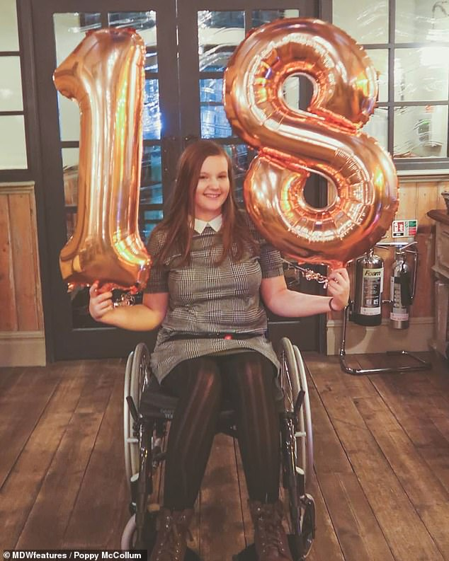 She was eventually diagnosed with functional neurological disorder in November 2018, after a neurologist suggested at the end of April it may be to blame (pictured turning 18 in March)