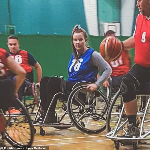 However, she was discharged without any diagnosis. Miss McCollum claimed she could 'barely walk' after being let home, forcing her family to hire her a wheelchair to help her get around (pictured playing wheelchair basketball)