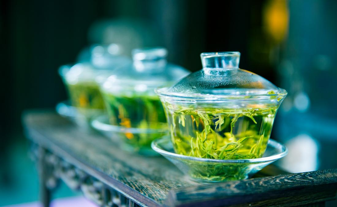 Green tea in glass jar