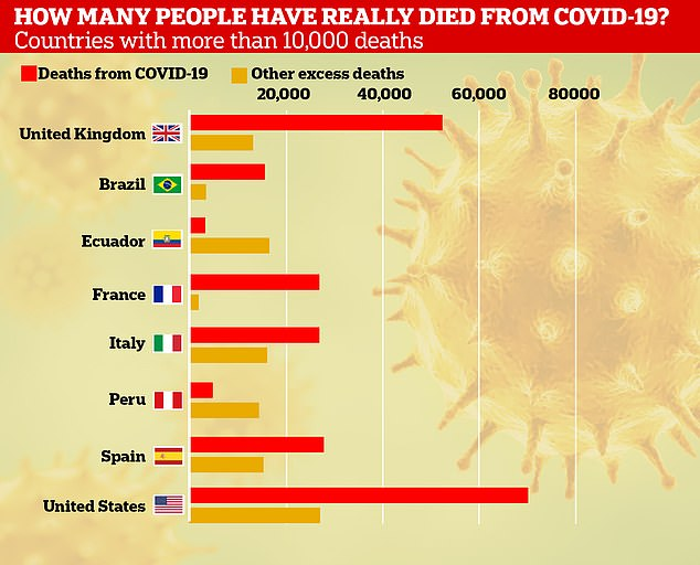 Pictured: Countries with over 10,000 more deaths than the five-year average. The US and UK have recorded the highest number of Covid deaths, but Ecuador has the highest excess fatalities as a percentage