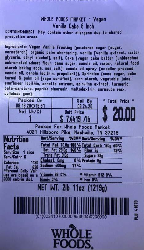 """Label, Whole Foods Market Vegan Vanilla Cake"""