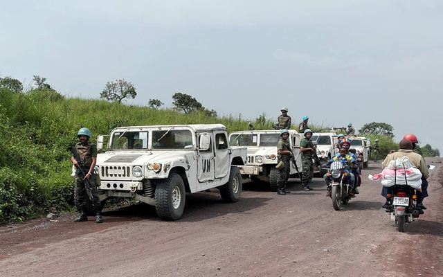 Peacekeepers serving in the United Nations Organisation Stabilisation Mission in the Democratic Republic of the Congo (MONUSCO) secure the scene where the Italian ambassador to Democratic Republic of Congo Luca Attanasio, Italian military policeman Vittorio Iacovacci and Congolese driver Moustapha Milambo from the World Food Programme were killed in an attempted kidnap when their convoy was attacked in Ruhimba village, eastern Democratic Republic of the Congo February 22, 2021. REUTERS